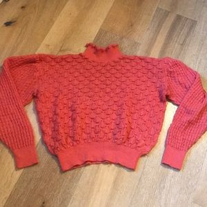 Anthropologie bright salmon Cropped sweater